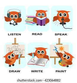 verb word vector background for preschool.verb set (listen read speak draw write paint).vector illustration.