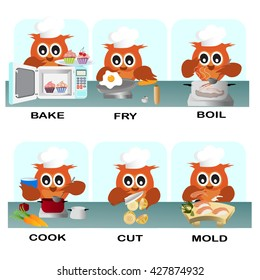 verb word vector background for preschool.verb set (bake fry boil cook cut mold).vector illustration.