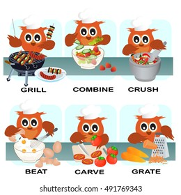 verb word vector background for preschool.verb cook set (grill combine crush beat crave grate).vector illustration.