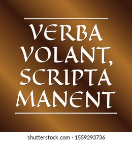 Verba volant, scripta manent, Translation: Words fly, writings remain. Latin quotes about success