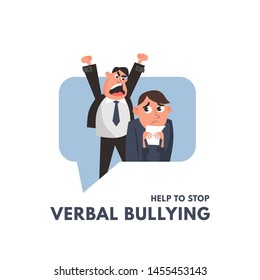 Verbal bullying between a boss and office worker. Workplace harassment illustration in cartoon style. Vector workplace bullying concept.