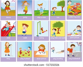 Verbs of action in pictures, colorful cartoon