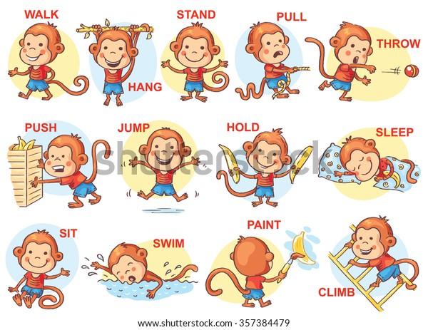 Resimlerde Eylem Fiiller Sevimli Maymun Karakteri Stok Vektor