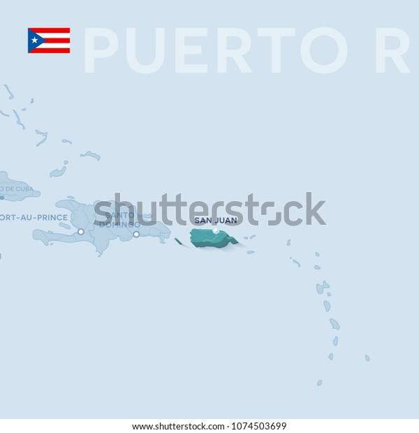Verctor Map Cities Roads Puerto Rico Stock Vector (Royalty ...