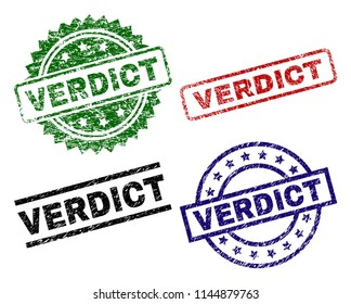 VERDICT seal prints with corroded texture. Black, green,red,blue vector rubber prints of VERDICT caption with dirty texture. Rubber seals with round, rectangle, medallion shapes.
