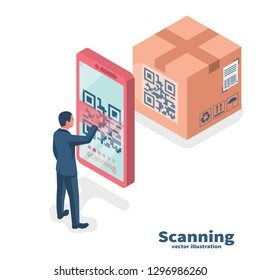 Verification application. Scanning QR code on mobile phone. Vector illustration isometric design. Isolated on background. Modern digital technology. Product identification on a big box.