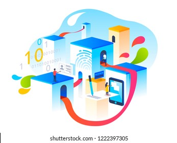 Verification steps. People interacting with info graphics via application. 3D vector isometric illustration