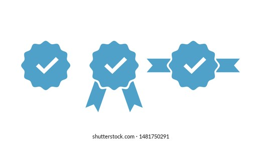 Verified and approve sign for social networks. Vector isolated icons for web badges, buttons, pins. EPS 10