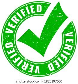 Verified grunge vector emblem on white background