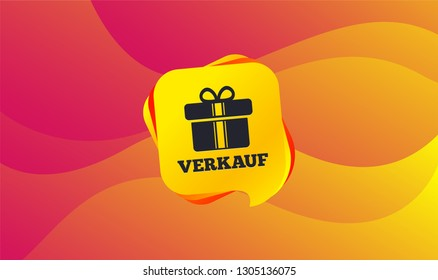 Verkauf - Sale in German sign icon. Gift box with ribbons symbol. Wave background. Abstract shopping banner. Template for design. Vector