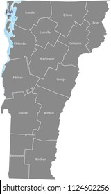 Vermont county map vector outline with counties names labeled in gray background