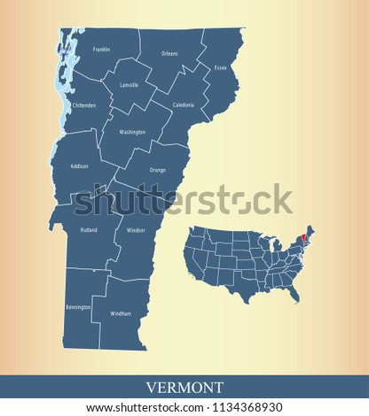 Vermont County Map Vector Outline Blue Stock Vector (Royalty Free ...