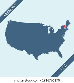 Vermont highlighted on USA map