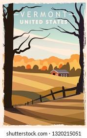 Vermont retro poster. USA Vermont travel illustration. United States of America greeting card. vector illustration.
