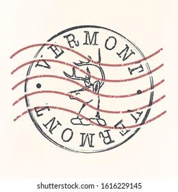 Vermont Stamp Postal. Silhouette Seal. Passport Round Design. Vector Icon. Design Retro Travel. National Symbol.