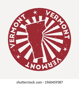 Vermont stamp. Travel red rubber stamp with the map of us state, vector illustration. Can be used as insignia, logotype, label, sticker or badge of the Vermont.