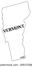 A Vermont state outline with the date of statehood isolated on a white background