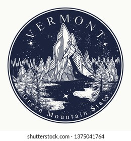Vermont. Tattoo and t-shirt design. Welcome to Vermont, (USA). Green mountain state slogan. Travel art concept