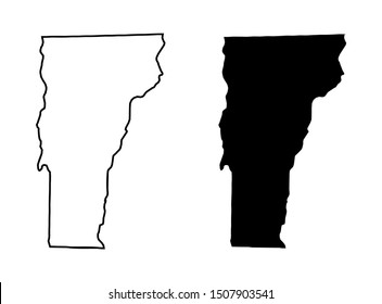 Vermont US State Vector Map - Vermont Blank Silhouette and Outline Map Vector Isolated on White Background
