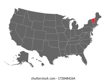 vermont vector map. High detailed illustration. United state of America country
