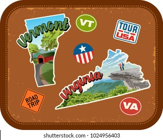 Vermont, Virginia travel stickers with scenic attractions and retro text on vintage suitcase background