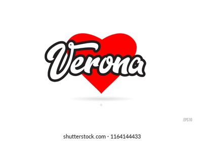 verona city text design with red heart typographic icon design suitable for touristic promotion