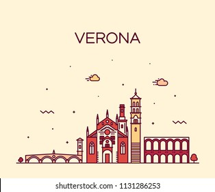 Verona skyline, Italy. Trendy vector illustration, linear style