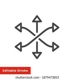 versatile icon, multipurpose capability, function cross, tilt skill, thin line web symbol on white background - vector illustration eps10