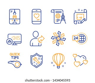 Versatile, Spanner and Crane claw machine icons simple set. Architect plan, Air balloon and Report statistics signs. Divider document, Love chat and Tutorials symbols. Line versatile icon. Vector