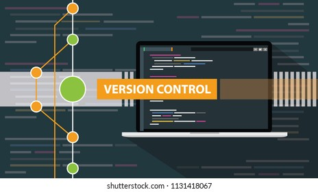 version control git programming script development with laptop and line vector illustration