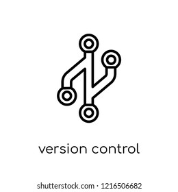 Version control icon. Trendy modern flat linear vector Version control icon on white background from thin line Technology collection, editable outline stroke vector illustration