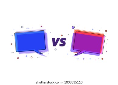 Versus banner. VS  letters with speech bubbles isolated on white background. Element for graphic design - ad, poster, flyer, tag, coupon, invitation card. Vector illustration.