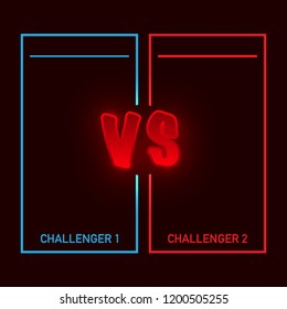 Versus battle, business confrontation screen with neon frames and vs logo vector illustration. Battle banner match, vs letters competition confrontation. Vector stock illustration.