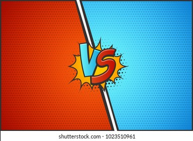 Versus battle template vector illustration. VS letters with explosion cloud pop art style