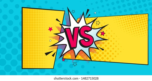 Versus comic banner. Vs comics book on halftone  background vector template. Comic magazine cartoon poster, vs frame. Versus lightning ray border, comic fighting duel and fight confrontation sticker