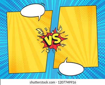 Versus comic frame. Vs comics book clash frames with cartoon text speech bubbles on halftone stripes background vector template. Comic magazine funny poster