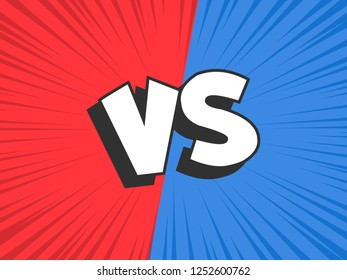Versus compare. Red VS blue battle conflict frame, confrontation clash and fight comic duel banner. Opposite sports challenge comics book cartoon vector illustration background