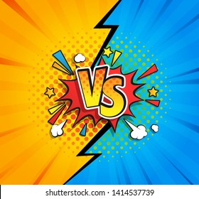Versus competitive concept in comic style on yellow and blue background with halftone and lightning split backdrop and speech bubble and VS letters on explosion cloud. Vector illustration