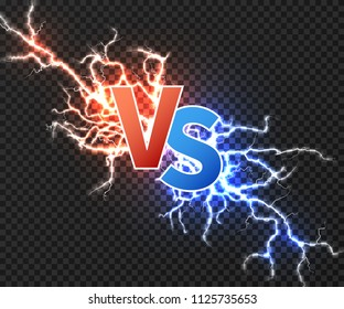 Versus concept with collision of two electric discharge. Vs vector background with power explosion of lightning isolated. Illustration of battle challenge collision