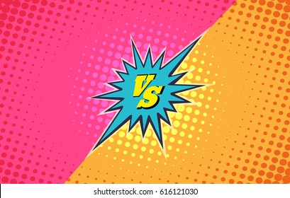 Versus duel fighting comic style vector background. Battle vs fashion slag banner