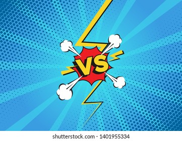 Versus fight backgrounds in flat comics style. Vs battle challenge isolated on color background. Vector cartoon comics background. Comic fighting duel with lightning ray border.