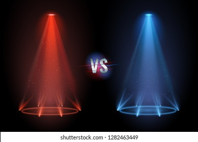 Versus flooring. Battle projector shining pedestal floor for vs boxing confrontation match. Neon versus duel mma boxing match competition projector shining floor. Vector illustration