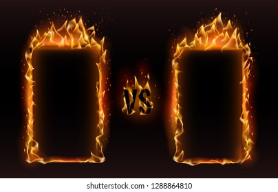 Versus frames. Fire vs frame, screen for boxing versus sports fight match challenge or fiery fire effects confrontation mma duel logo. Championship competition frames vector illustration