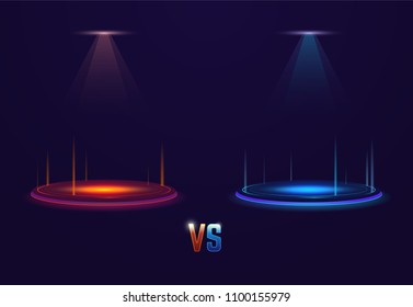 Versus glowing pedestal with glowing flares. Battle or competition concept template. Red and blue neon glowing circles on the floor. Shining projectors from above.