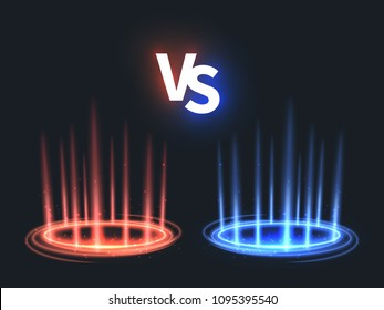 Versus glowing teleport effect on floor. Vs battle scene with rays and sparks. Abstract hologram supernatural vector background. Fight and battle game challenge, competition color vs illustration