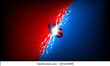 Versus icon with lightning effect. Vector illustration with bright thunderstorms and shining lightnings. VS label on dark blue and red background.