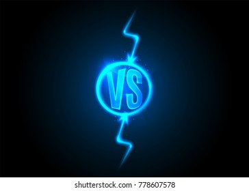 Versus icon. VS letters is into round circle. Lightning bolt on dark background. Blue neon cartoon thunder. Vector illustration