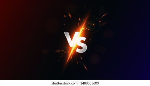 Versus - image blank, vs collision of metal letters with sparks and glow on a red-blue background, confrontation concept, competition vs match game, martial battle vs sport. Versus battle vector