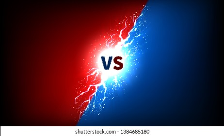 Versus label with lightning effect. Vector illustration with bright thunderstorms and shining lightnings. VS symbol on dark blue and red background.