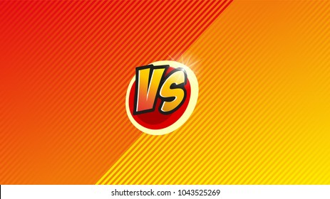 Versus letter background. Cartoon retro stripes design. Yellow and orange color. Comics background. Vector illustration.